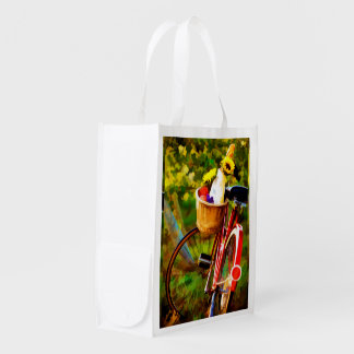 A Loaf of Bread a Jug of Wine & a Bike Reusable Grocery Bag