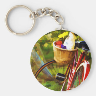 A Loaf of Bread a Jug of Wine and a Bike Basic Round Button Keychain