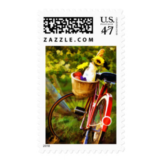 A Loaf of Bread a Jug of Wine and a Bike Postage Stamp