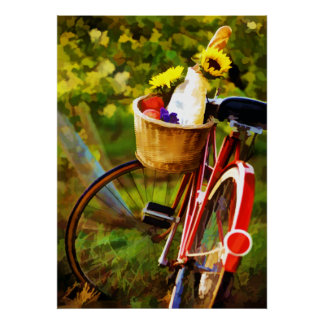 A Loaf of Bread a Jug of Wine and a Bike Poster