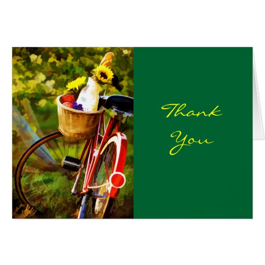A Loaf of Bread a Jug of Wine and a Bike Thanks Card