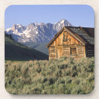 A log cabin and the Sawtooth Mountains in Beverage Coaster