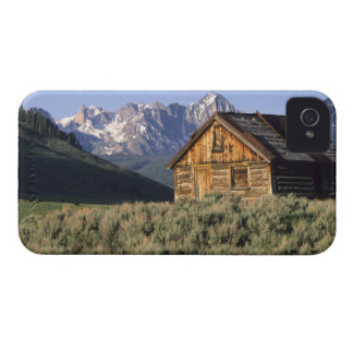 A log cabin and the Sawtooth Mountains in iPhone 4 Case