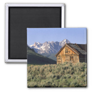 A log cabin and the Sawtooth Mountains in Magnet