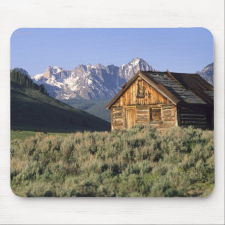 A log cabin and the Sawtooth Mountains in Mouse Pad