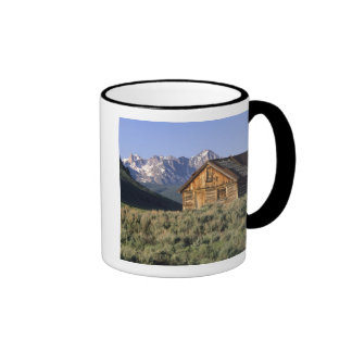 A log cabin and the Sawtooth Mountains in Ringer Coffee Mug