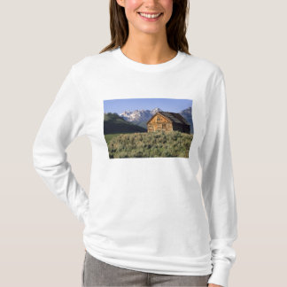 A log cabin and the Sawtooth Mountains in T-Shirt