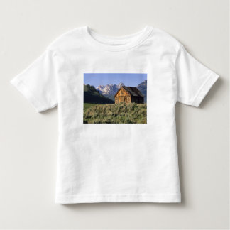 A log cabin and the Sawtooth Mountains in Toddler T-shirt