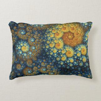 """a.lone"" Blue Organic Spiral Fractal Decorative Pillow"