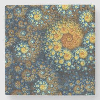 """a.lone"" Blue Organic Spiral Fractal Stone Coaster"