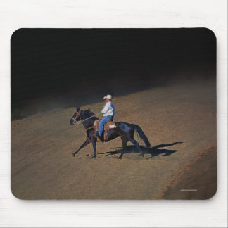 A Lone Cowboy and His Horse Art on a Mousemat Mouse Pad