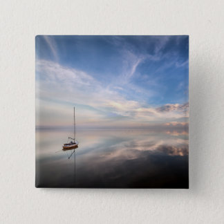 A Lone Sailboat On The Calm Waters Of Salton Pinback Button