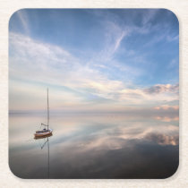 A Lone Sailboat On The Calm Waters Of Salton Square Paper Coaster