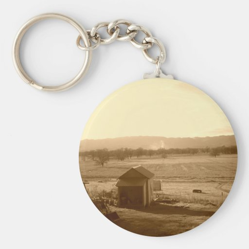 A lonely farm basic round button keychain