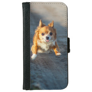 A long haired brown and white Chihuahua Running iPhone 6/6s Wallet Case