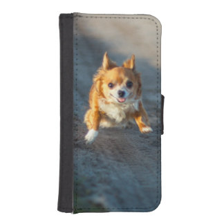 A long haired brown and white Chihuahua Running iPhone SE/5/5s Wallet Case