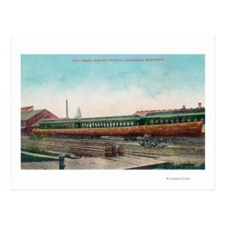 A Long Tree Log on Railroad Tracks Post Cards