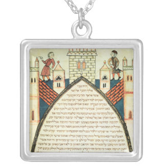 A lookout gives the alarm, illustration from square pendant necklace