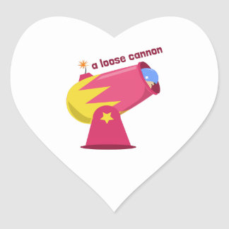 A Loose Cannon Heart Sticker