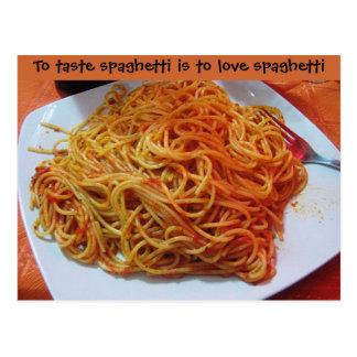 A los espaguetis del amor tarjeta postal
