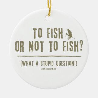 ¿A los pescados o no pescar? ¡Una qué pregunta Adorno Redondo De Cerámica