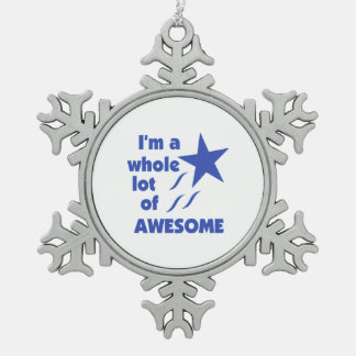 A Lot of Awesome Snowflake Pewter Christmas Ornament