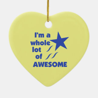 A Lot of Awesome - Yellow Background Ceramic Ornament