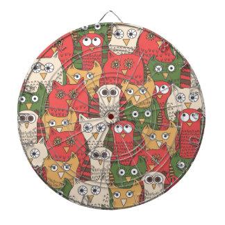 A lot of cute owls dartboard