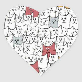 A lot of funny cats heart sticker