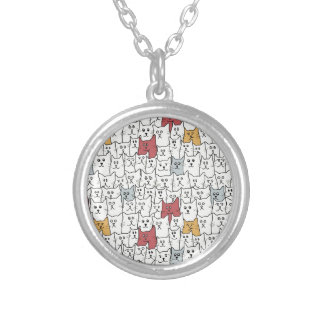 A lot of funny cats round pendant necklace