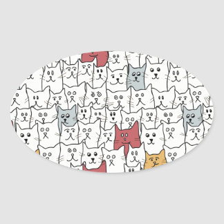 A lot of funny cats oval sticker