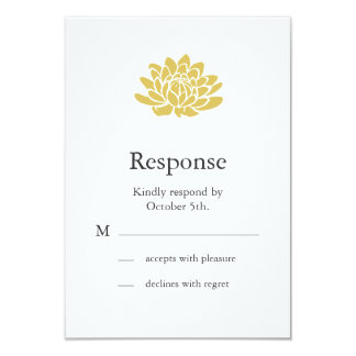 A Lotus Flower RSVP (yellow) 3.5x5 Paper Invitation Card