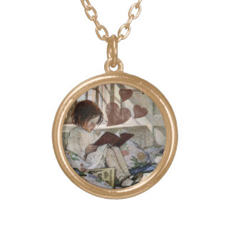 A love of Reading Round Pendant Necklace