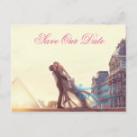 A lover couple in front of Louvre/Save The Date Announcement Postcard