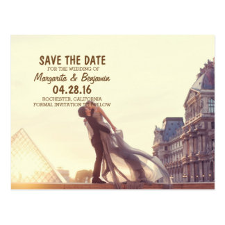 A lover couple in front of Louvre/Save The Date Postcard