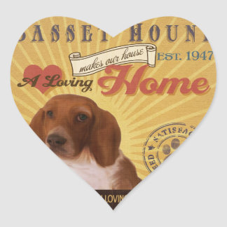 A Loving Basset Hound Makes Our House Home Heart Sticker