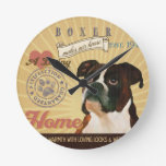 A Loving Boxer Makes Our House Home Round Wall Clock