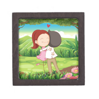 A loving couple at the forest gift box