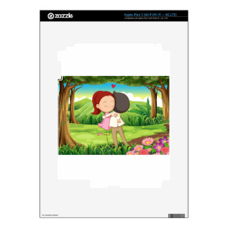 A loving couple at the forest skins for iPad 3