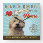 A Loving Golden Doodle Makes Our House Home Square Wallclocks