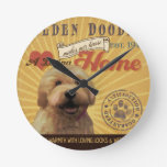 A Loving Golden Doodle Makes Our House Home Round Clocks