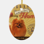 A Loving Pomeranian Makes Our House Home Double-Sided Oval Ceramic Christmas Ornament