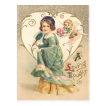 A Loving Thought Vintage Valentine Postcard