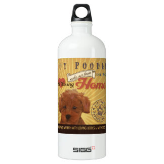 A loving Toy Poodle Makes Our House home Aluminum Water Bottle
