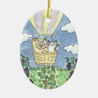 A Lucky Flight Over the Vineyard Ceramic Ornament