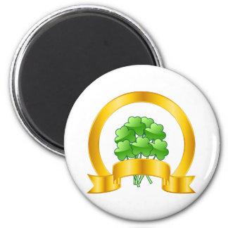 A Lucky Golden Horseshoe with green shamrocks Magnet