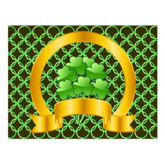 A Lucky Golden Horseshoe with green shamrocks Postcard