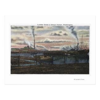 A Lumber Scene Postcard