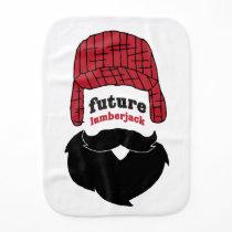 A lumberjack baby burp cloth