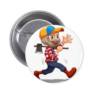 A lumberjack cheering pinback button
